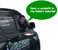 "Josh in service van asking ""Need a Locksmith in Sydney's Eastern Suburbs?"""