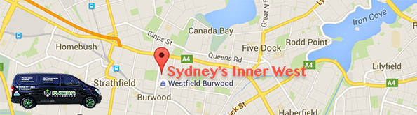 Map showing our locksmith service area in Sydney's Inner West