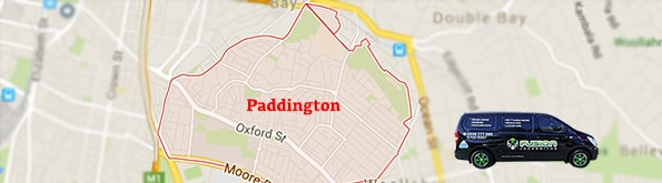 Map to show our locksmith service area in Paddington, Sydney