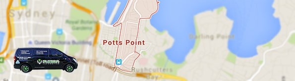 Map of our locksmith serviced area in Potts Point