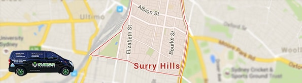 Map showing our locksmith service area in Surry Hills