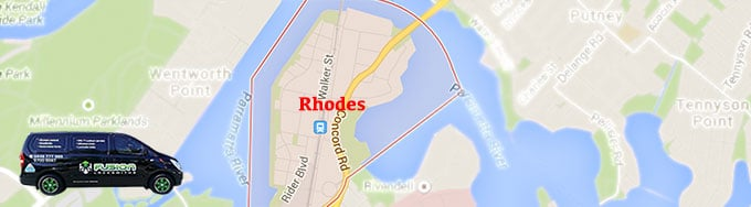 Map of Rhodes showing our locksmith service area.