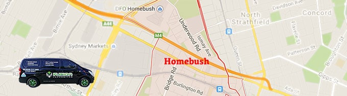 Map of coverage area in Homebush