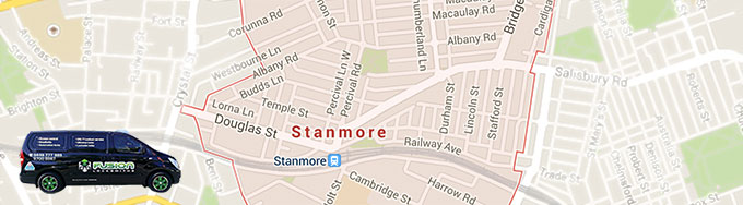 Map of Stanmore showing our locksmith service area