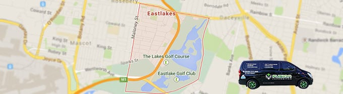 Map showing Eastlakes serviced area of Fusion Locksmiths